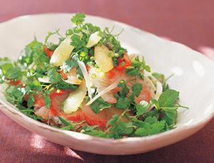 刺身サラダ、メープルレモン風味