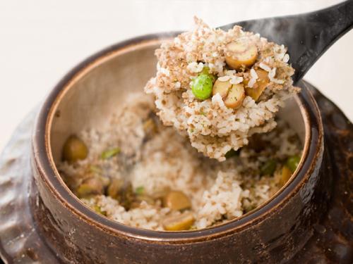 牛メープルそぼろ 栗 銀杏の炊き込みご飯