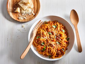 メープルボロネーゼソースのワンポットスパゲッティ