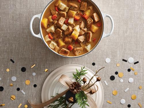 根菜、メープルソース、ザアタールのポークシチュー