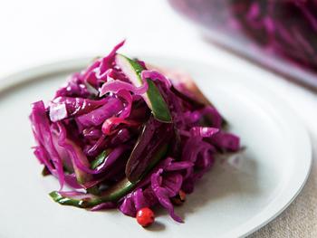 紫キャベツときゅうりのメープルピクルス